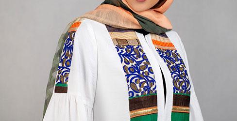 مانتو آستین کلوش یقه گرد لنین مدل مراکش